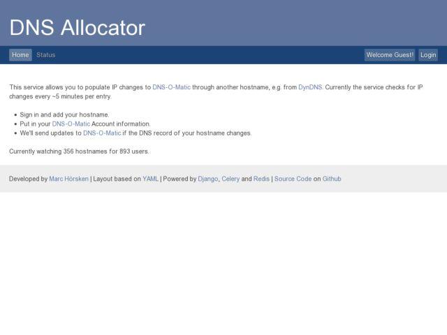 screenshot of DNS Allocator