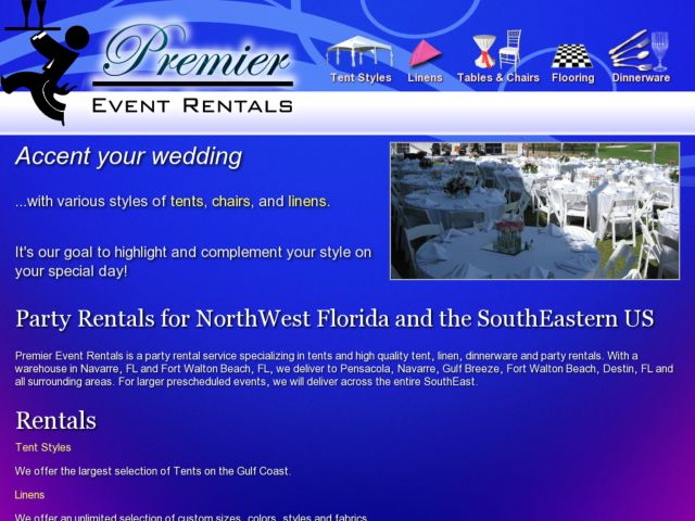 screenshot of Premier Event Rentals