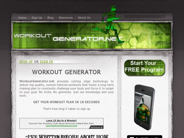 screenshot of Workout Generator