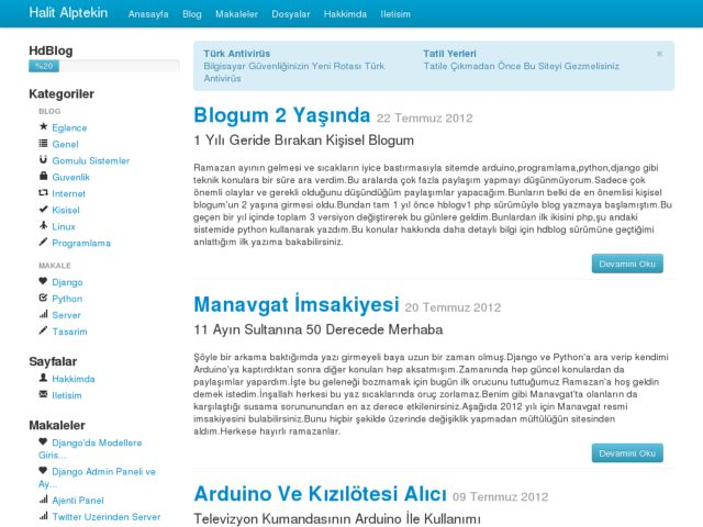 screenshot of Halit Alptekin Personal Blog