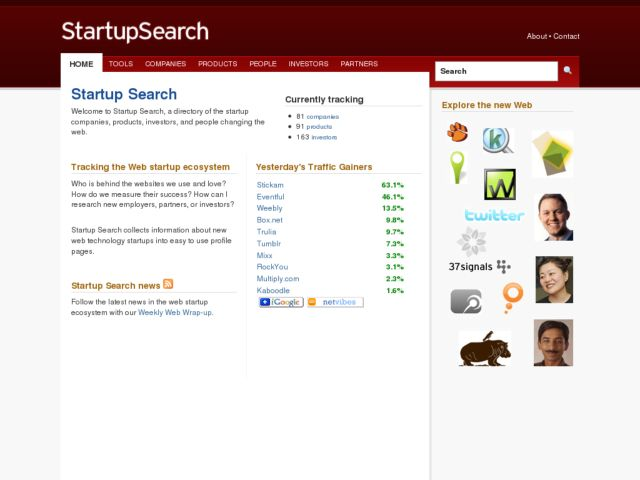 screenshot of Startup Search