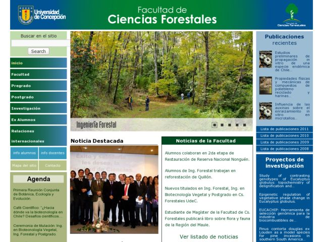 screenshot of Facultad Ciencias Forestales - Universidad de Concepción