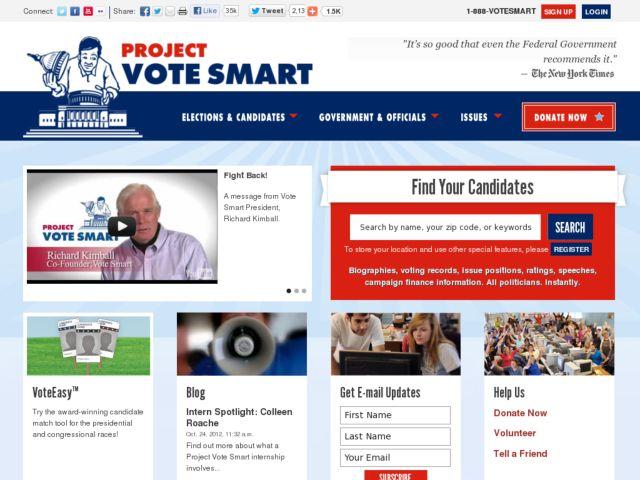 screenshot of Project Vote Smart
