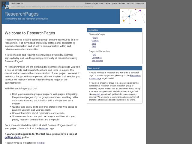 screenshot of ResearchPages