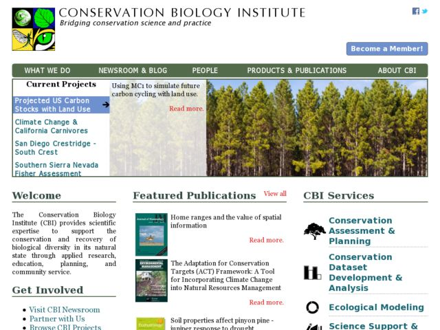 screenshot of Conservation Biology Institute