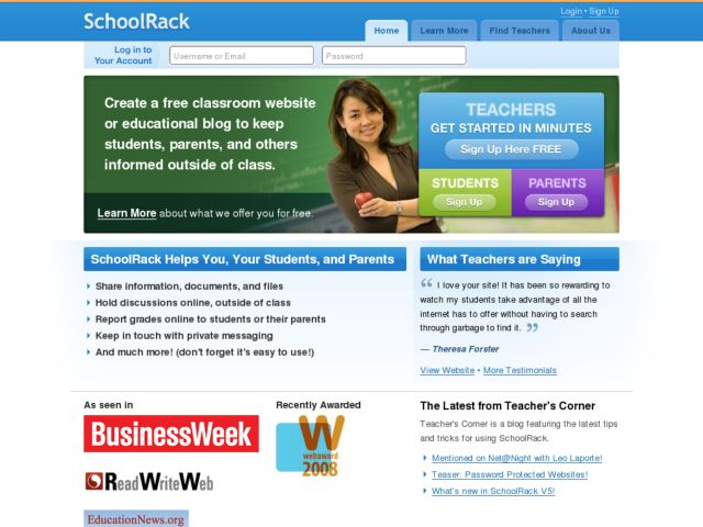 screenshot of SchoolRack