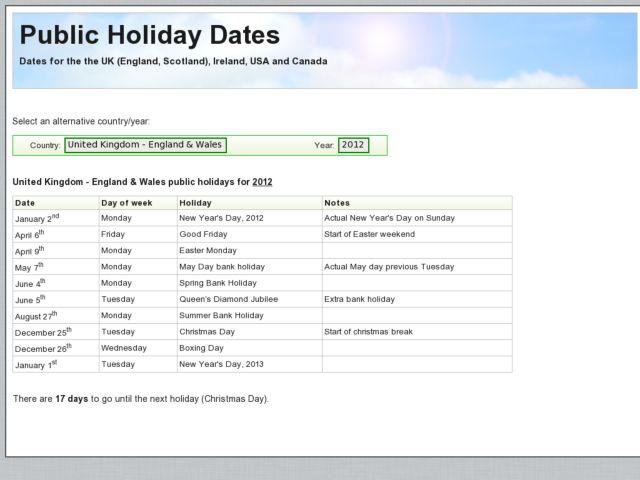 screenshot of Bank Holiday Dates