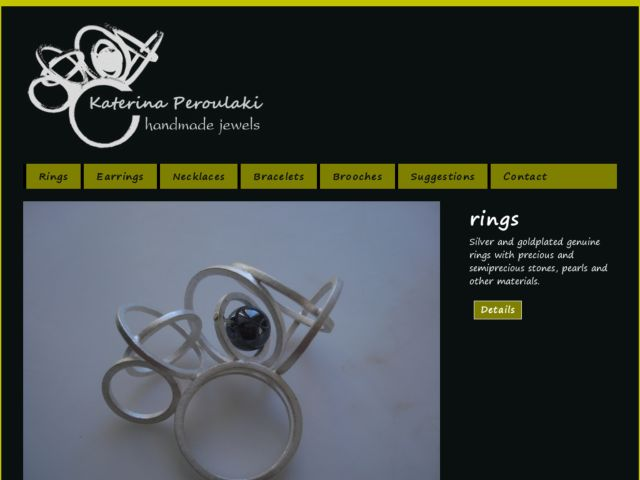 screenshot of Katerina Peroulaki handmade jewels