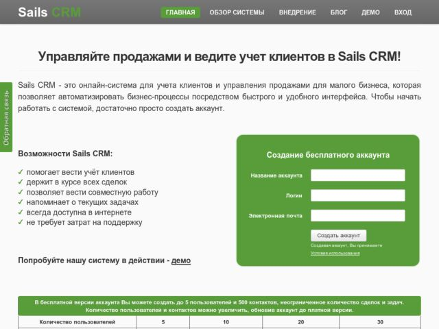 screenshot of Sails CRM