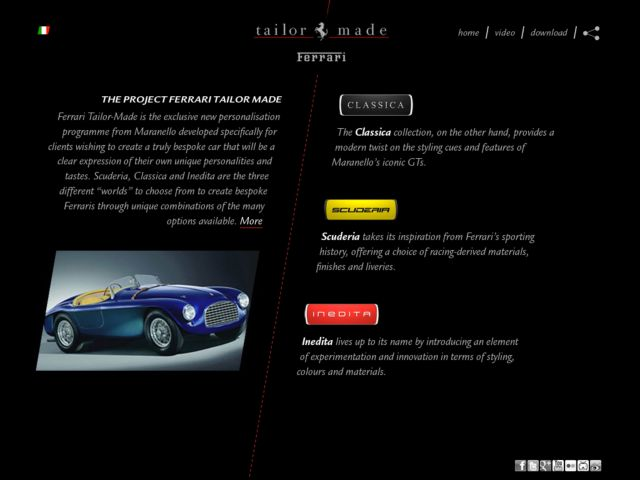 screenshot of ferrari tailormade