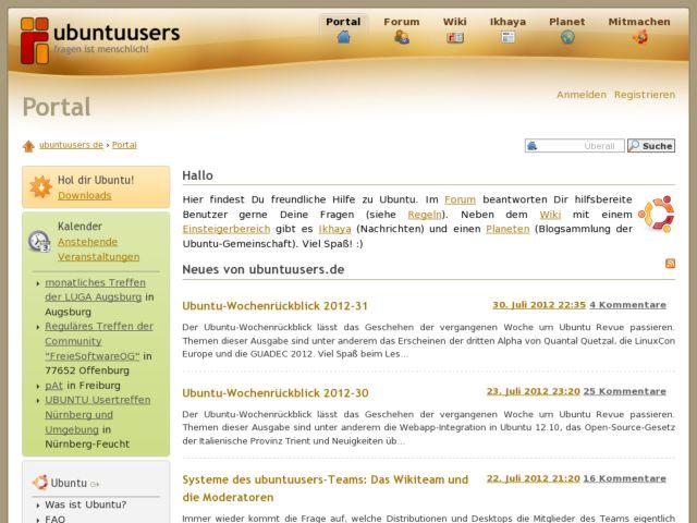 screenshot of ubuntuusers.de