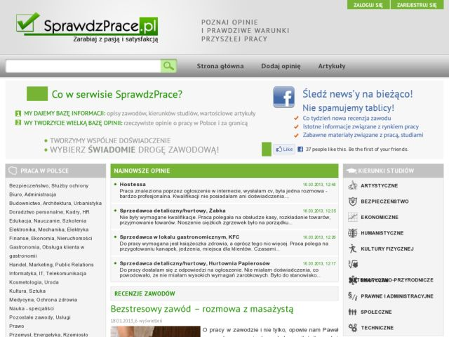 screenshot of SprawdzPrace.pl
