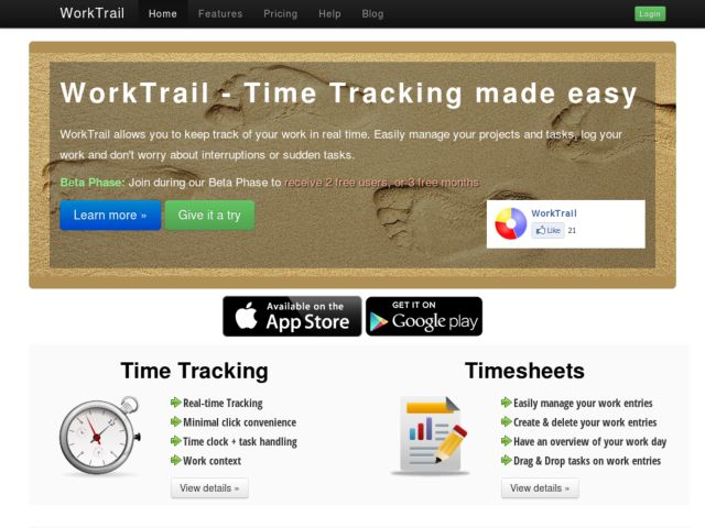 screenshot of WorkTrail - Time Tracking made easy