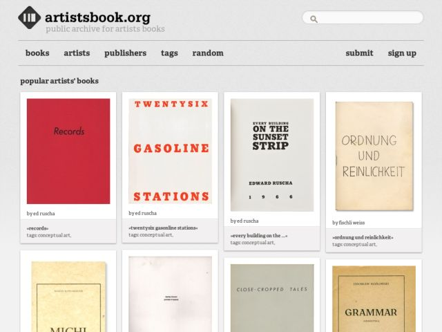 screenshot of public archive for artists books