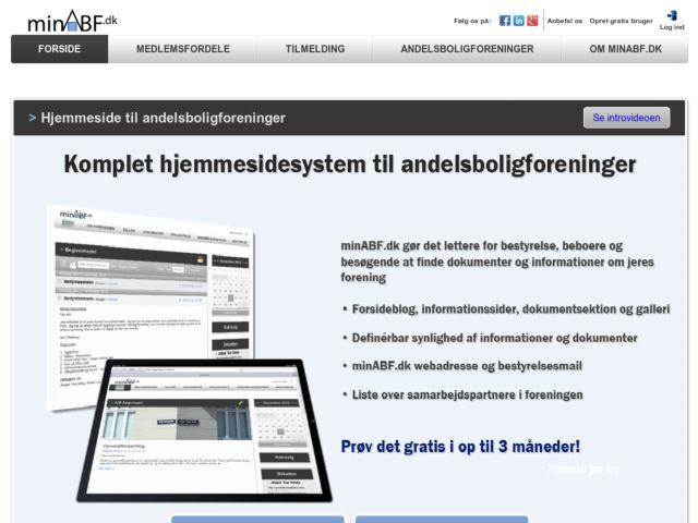 screenshot of minABF.dk