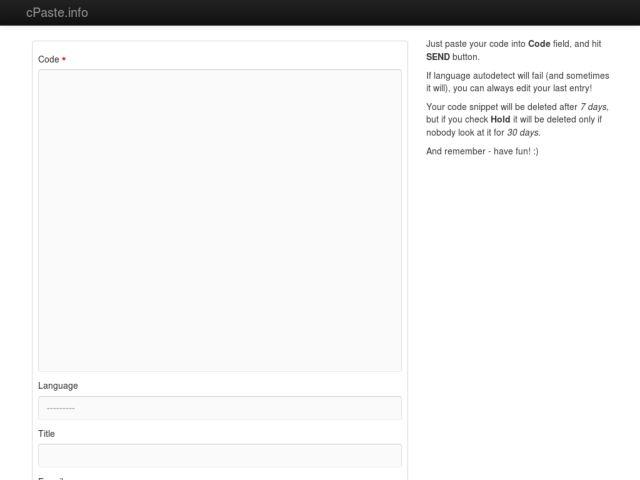 screenshot of cPaste.info