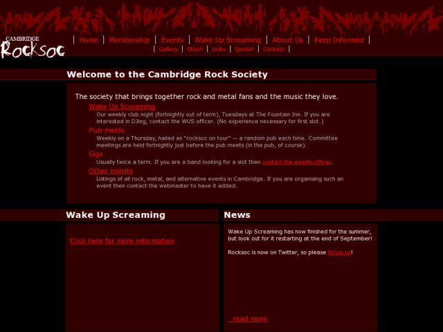 screenshot of Cambridge University Rock Society