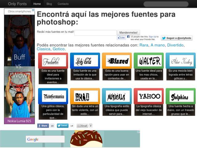 screenshot of OnlyFonts