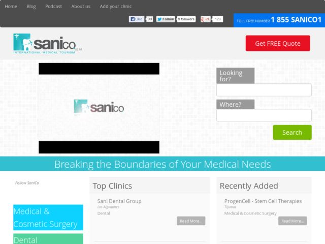 screenshot of Medical Tourism, Dental Tourism, and Health Tourism | Sanico