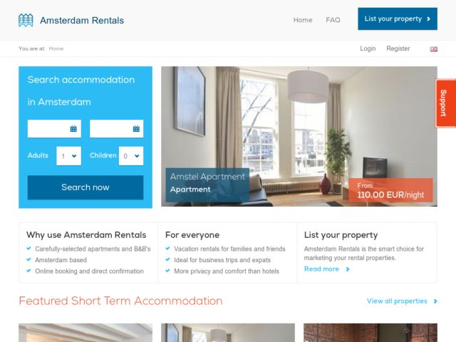 screenshot of Amsterdam Rentals