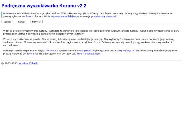 screenshot of Podreczna wyszukiwarka Koranu