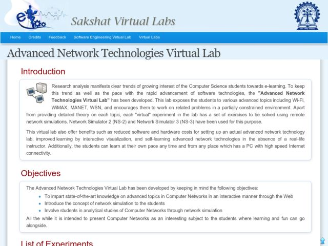 Advanced Network Technologies Virtual Lab