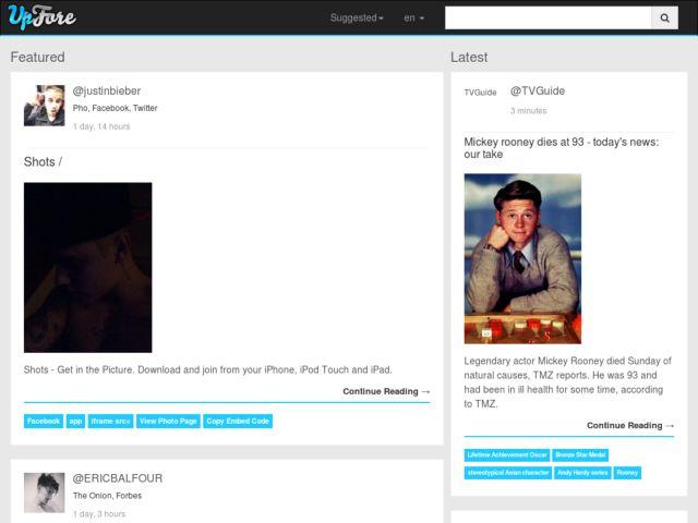 screenshot of Upfore