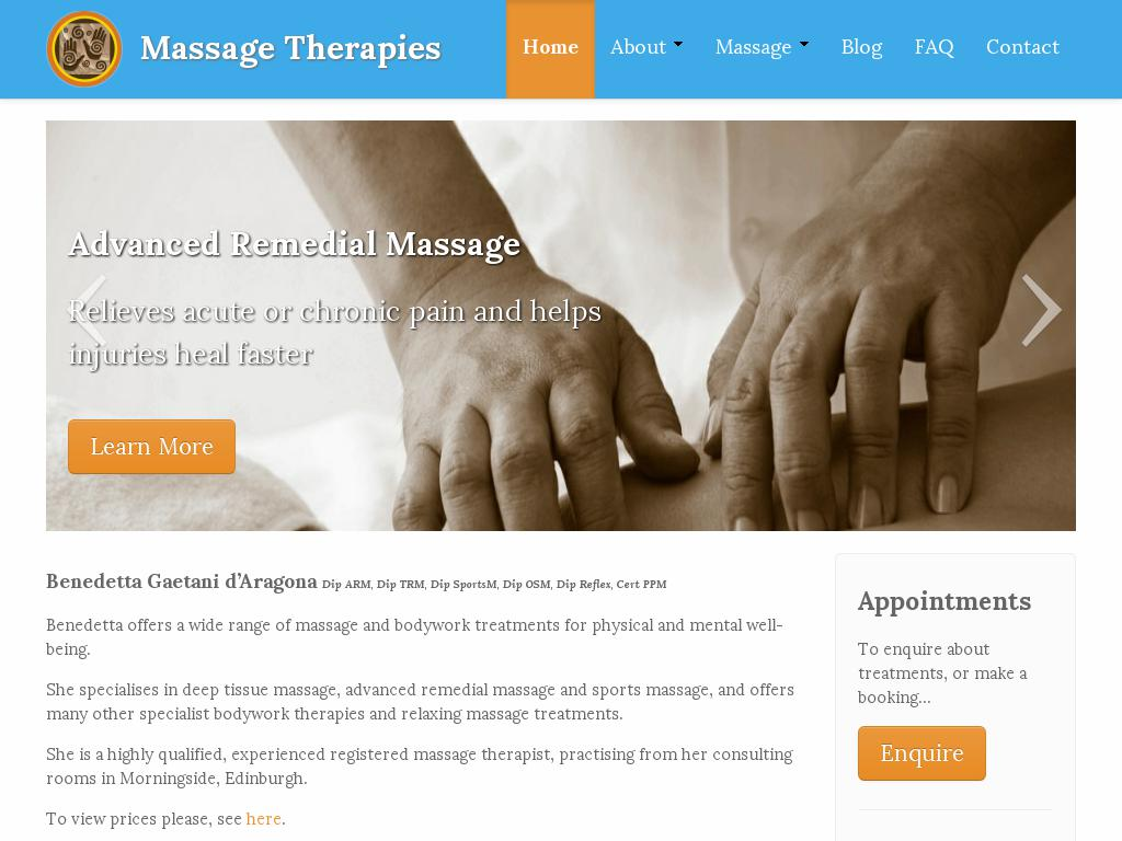 screenshot of Massage Therapies