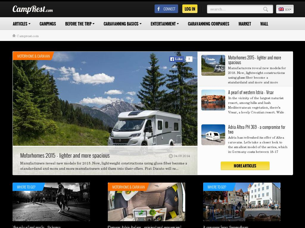screenshot of CampRest.com - Camping & Caravanning information center with the best camping list