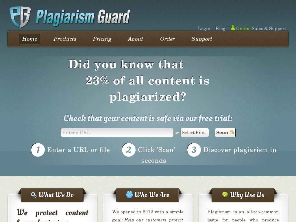 screenshot of Plagiarism Guard