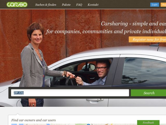 screenshot of Caruso Carsharing