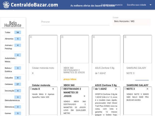 screenshot of centraldobazar.com