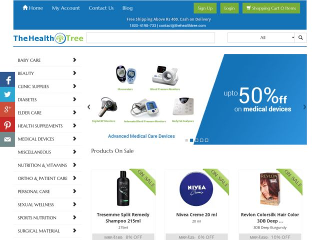 TheHealthTree.com : Online shopping for health care products in India