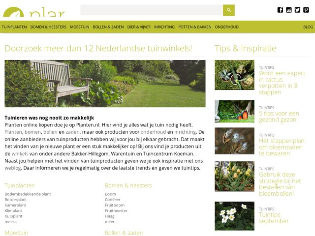 screenshot of Planten.nl