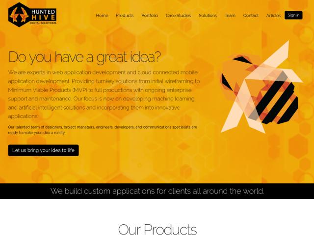 screenshot of Hunted Hive - Python Web Development Company