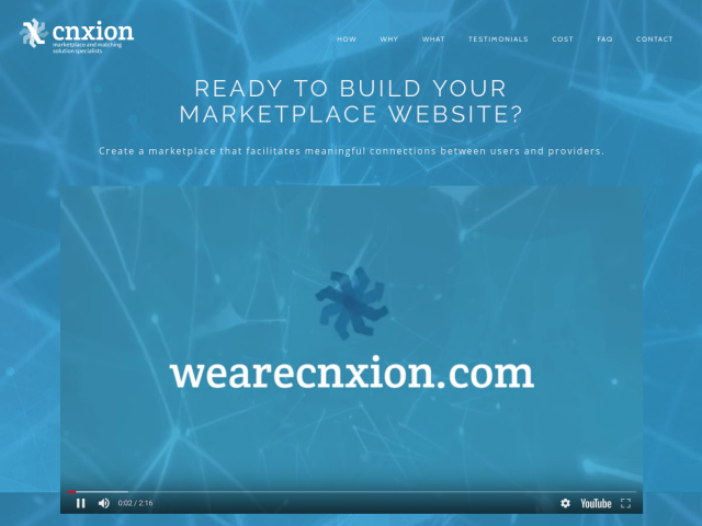 screenshot of We Build Marketplace Websites | CNXION