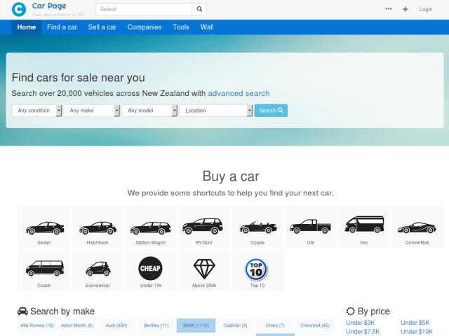 screenshot of Car Page