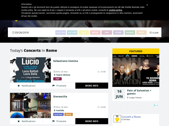 screenshot of Concerti a Roma