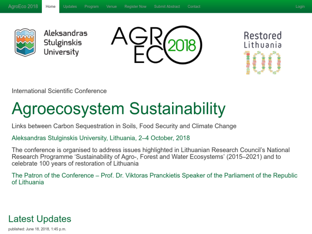 AgroEco 2018, Scientific Conference