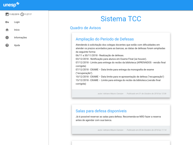 screenshot of Sistema TCC