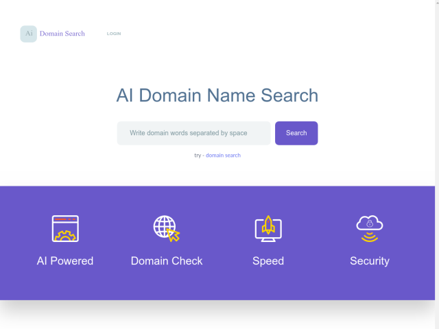 screenshot of AI Domain Search