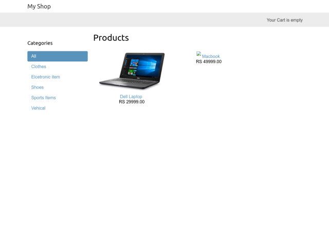 screenshot of Ecommerce Site