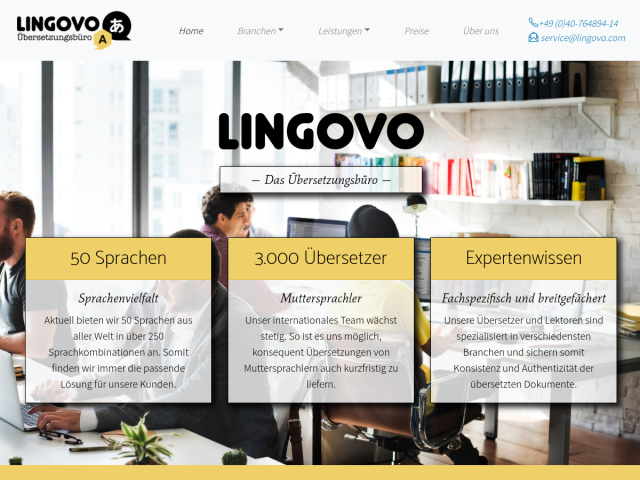 screenshot of Lingovo Translation Agency