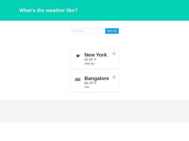 screenshot of Weather App