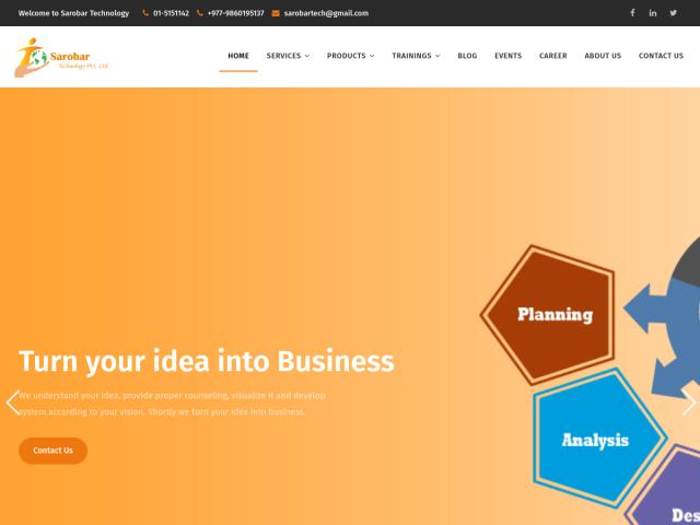 screenshot of Sarobar Technology