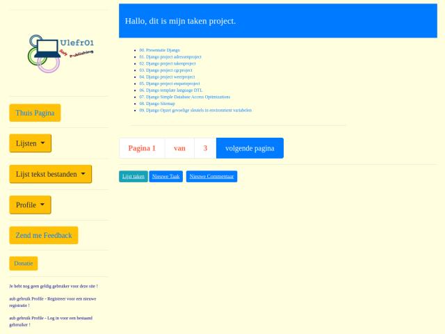 screenshot of Tasks project