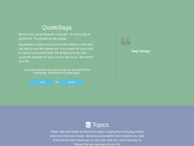 screenshot of QuoteSaga