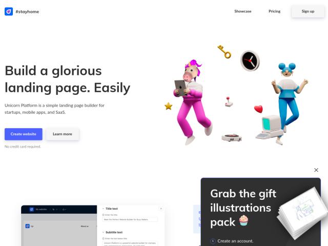 screenshot of Unicorn Platform