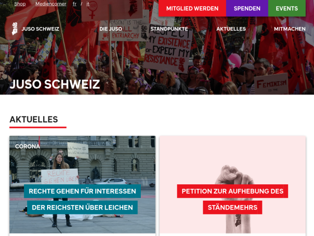 Website of the Young Socialists Switzerland