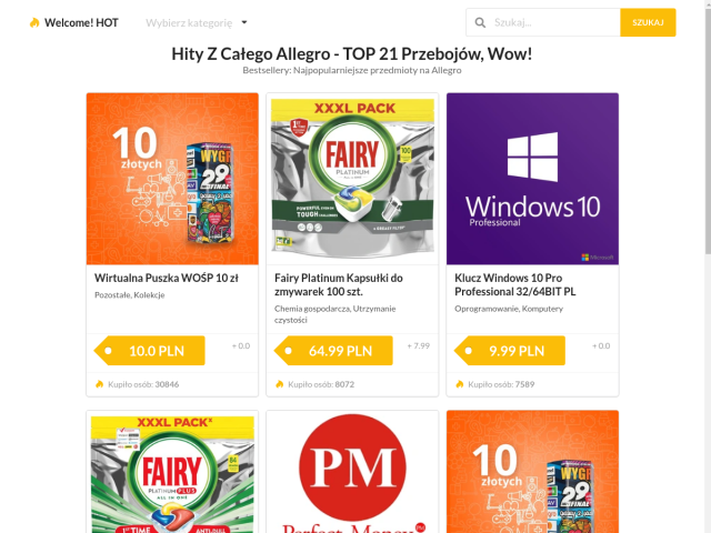 Simple Tool for quickly finding shopping opportunities, Hits From Allegro - TOP 21 bestsellers
